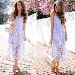 NWT Astr the Label Lace Midi Dress in Periwinkle
